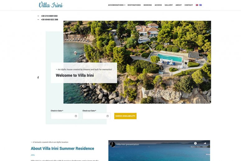 Villa Irini Website